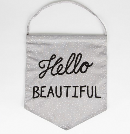 50% OFF Hello Beautiful Pastel Message Flag Grey
